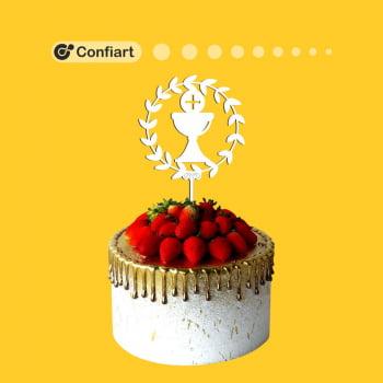 Topo de bolo primeira comunhão 15cm